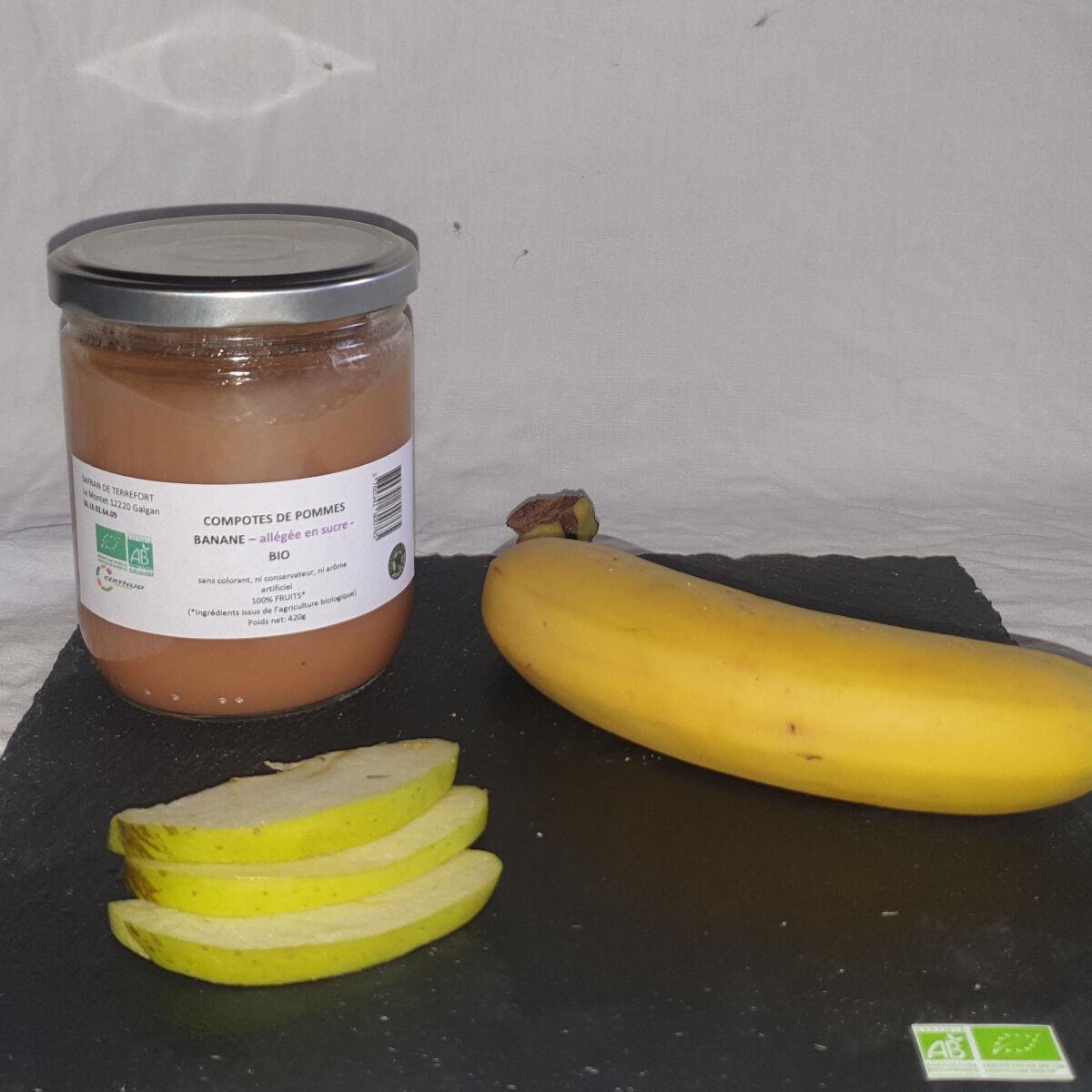 La Ferme du Montet Compote Pomme - Banane - bio - allégée en sucre