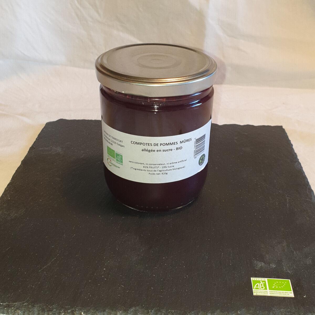 La Ferme du Montet Compote Pomme Mûres allégée en sucre BIO - 420 g