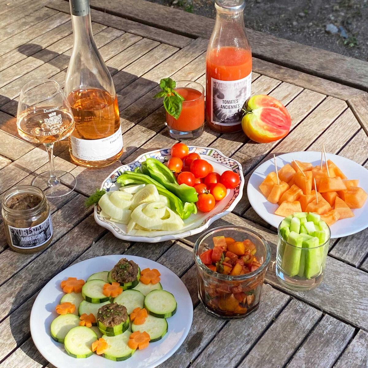 La Boite à Herbes Panier Apéro : Fruits, Légumes et vin