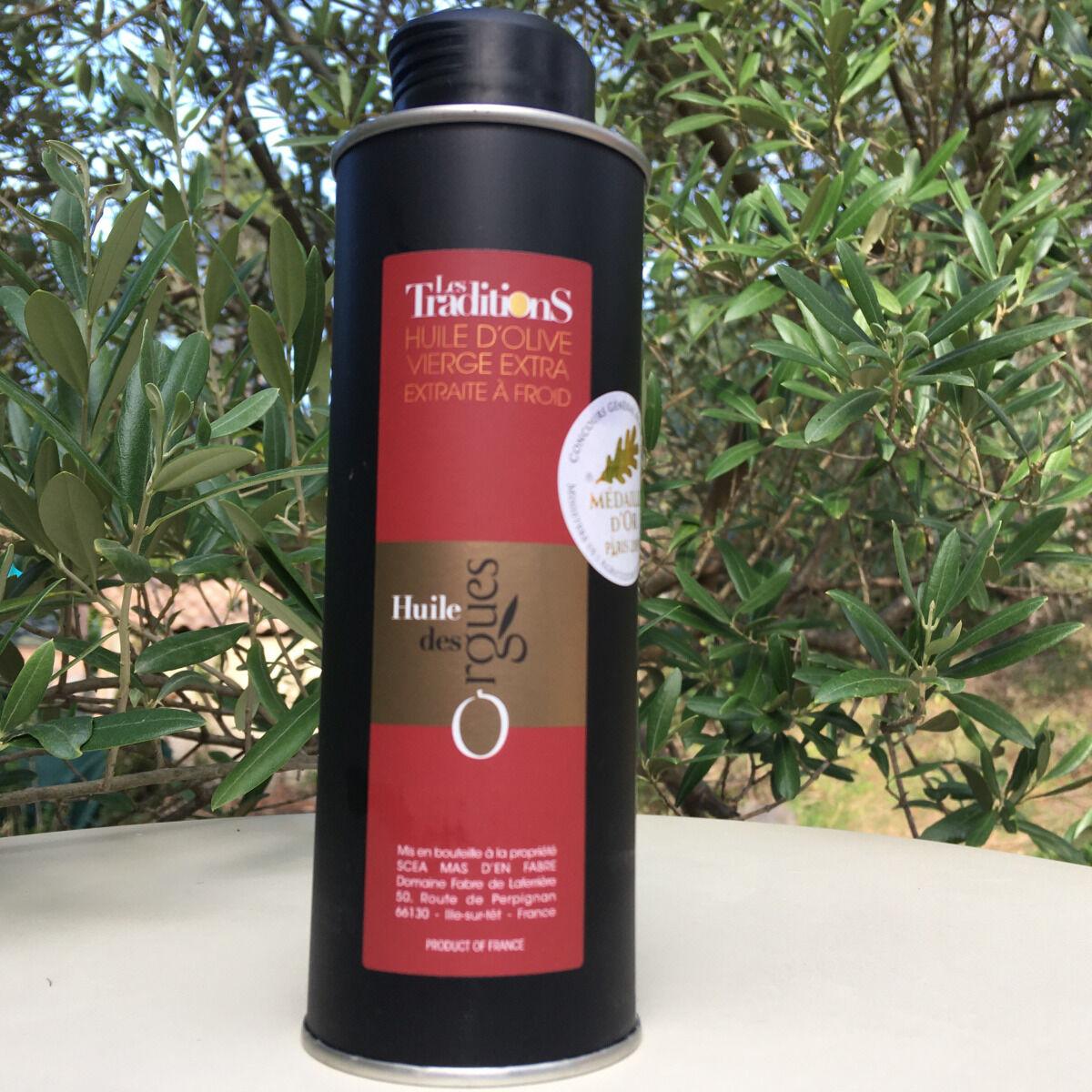 Huile des Orgues Huile d'Olive Vierge Extra Assemblage - Variétés du Roussillon - 250 ml