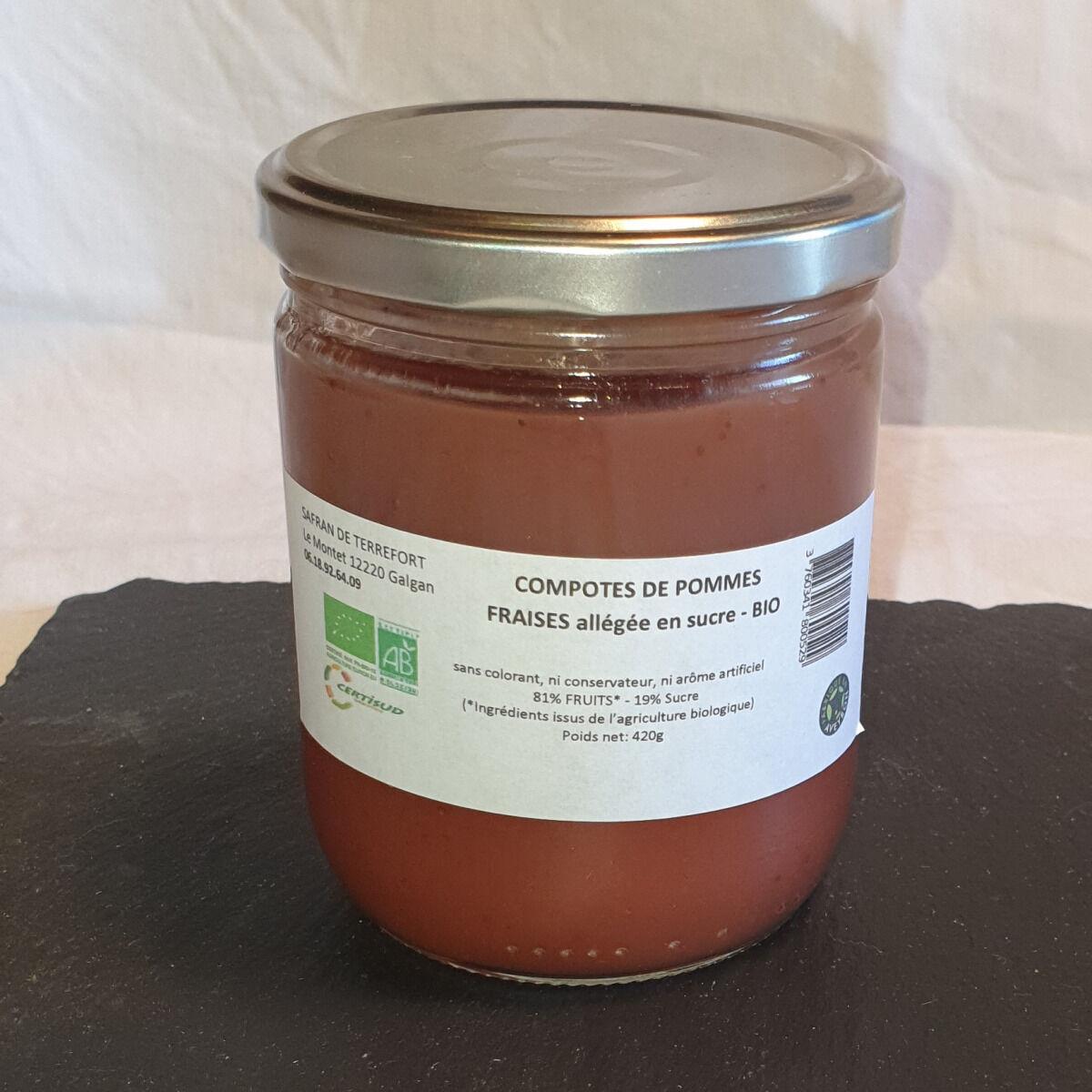 La Ferme du Montet Compote Pomme - Fraise - bio - allégée en sucre