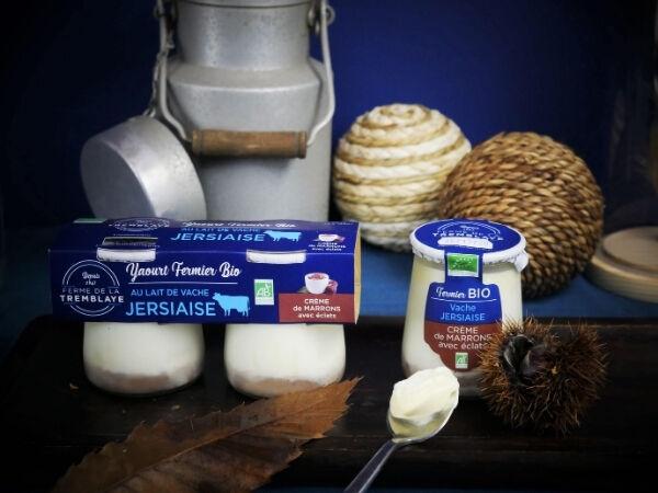 Ferme de La Tremblaye Yaourt De Vache Jersiaise Fermier Bio  À La Crème De Marron Avec Eclats 1 Pot