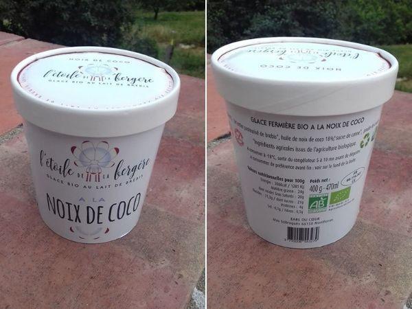L'Etoile de la Bergère Glace Bio Au Lait De Brebis Corse Noix De Coco 470 Ml
