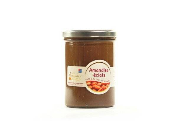 Les amandes et olives du Mont Bouquet Amandise 450gr – pâte à tartiner chocolat et éclats d'amande