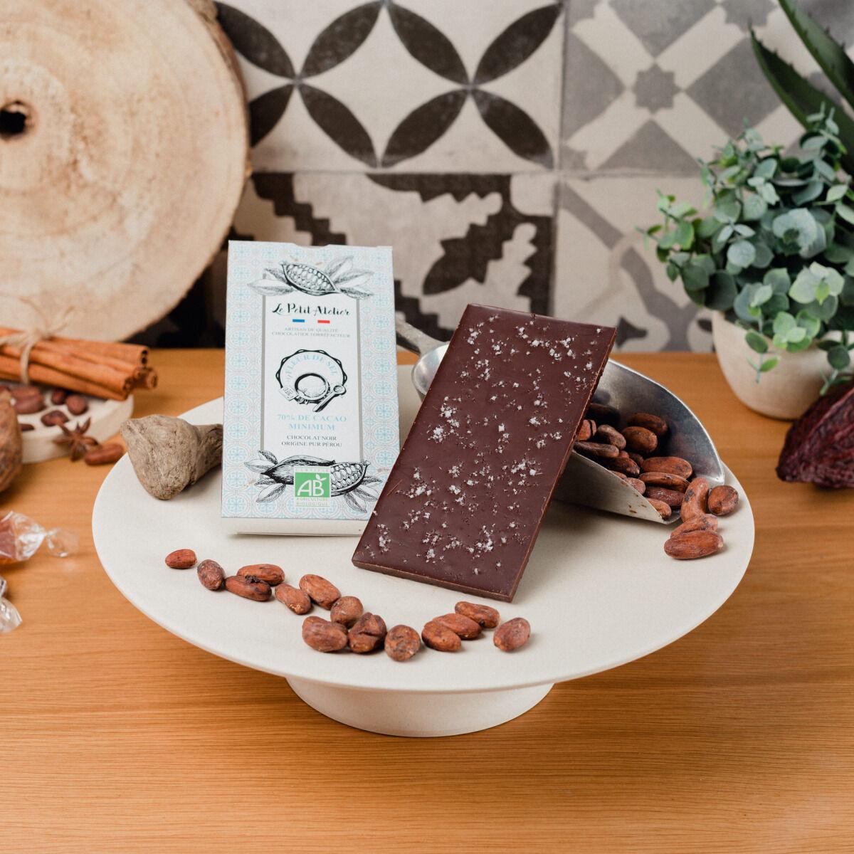 Le Petit Atelier Tablette Chocolat Noir Bio À La Fleur De Sel