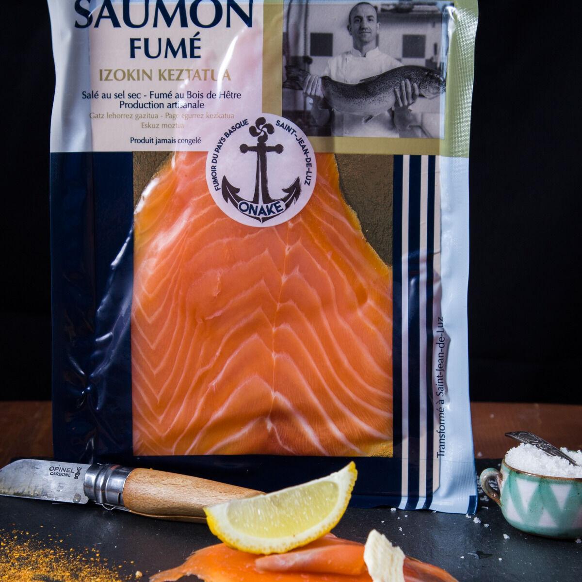 ONAKE - Le Fumoir du Pays Basque Tranches de Saumon Écossais, Fumé au Bois de Hêtre - 2 Pers