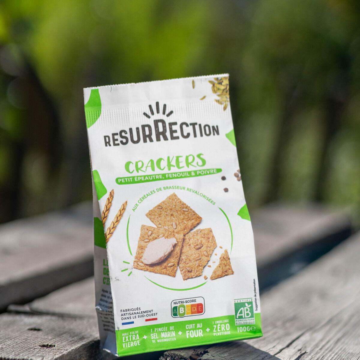 Crackers Résurrection Crackers Petit épeautre, fenouil & poivre  aux céréales de brasseur revalorisées