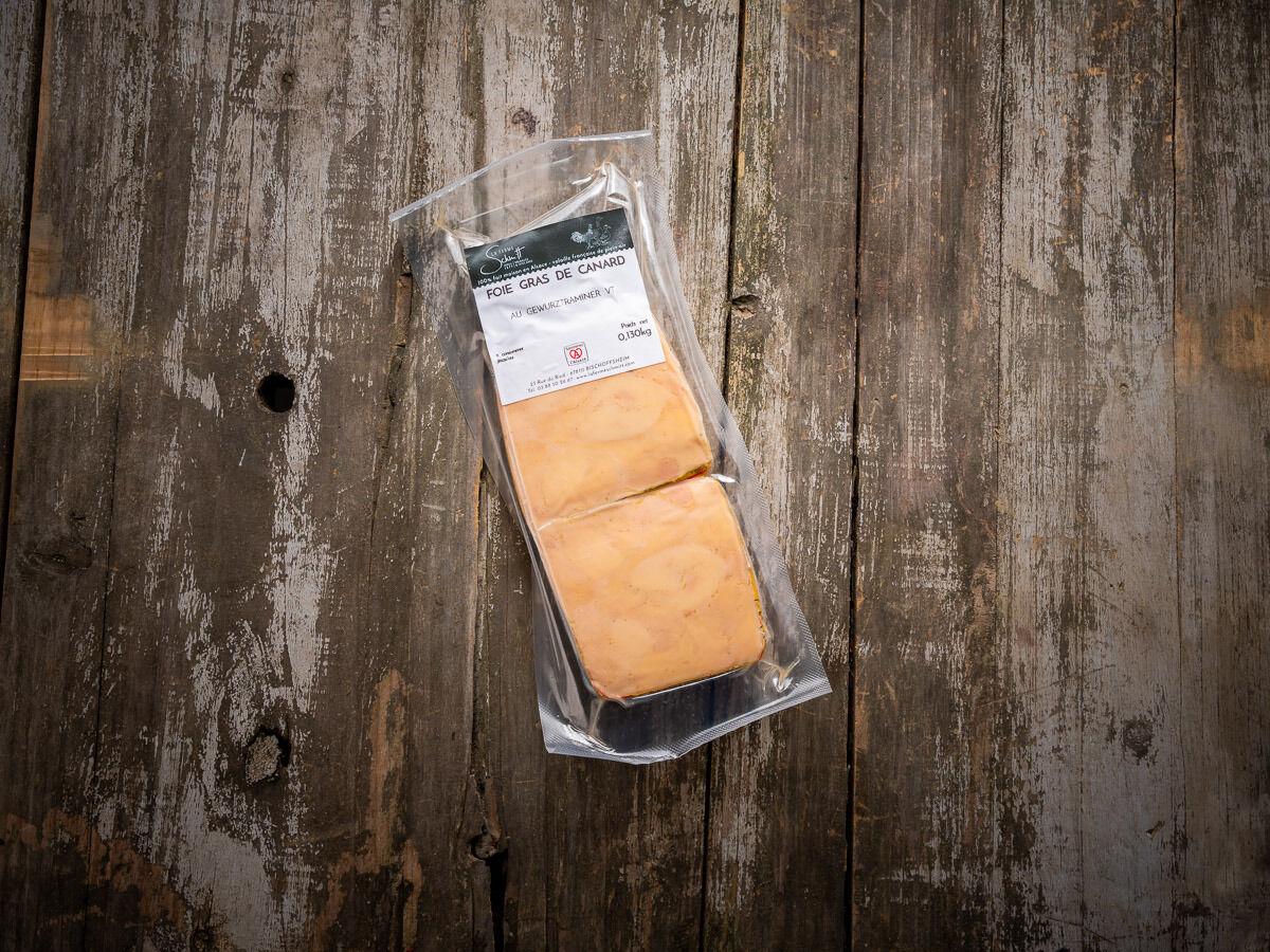 La Ferme Schmitt Foie Gras de Canard d'Alsace Mi-Cuit au Gewurztraminer Vendanges Tardives, 2 tranches sous-vide