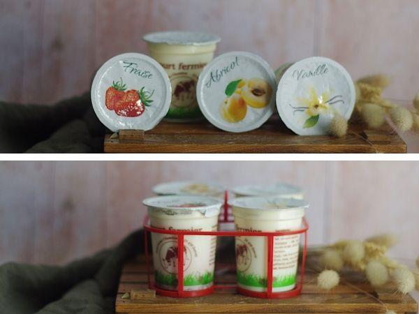 Ferme Chambon Yaourts au Lait Cru de Vache parfums panachés: Natures x2, Vanille x2, Abricot x2, Fraise x2