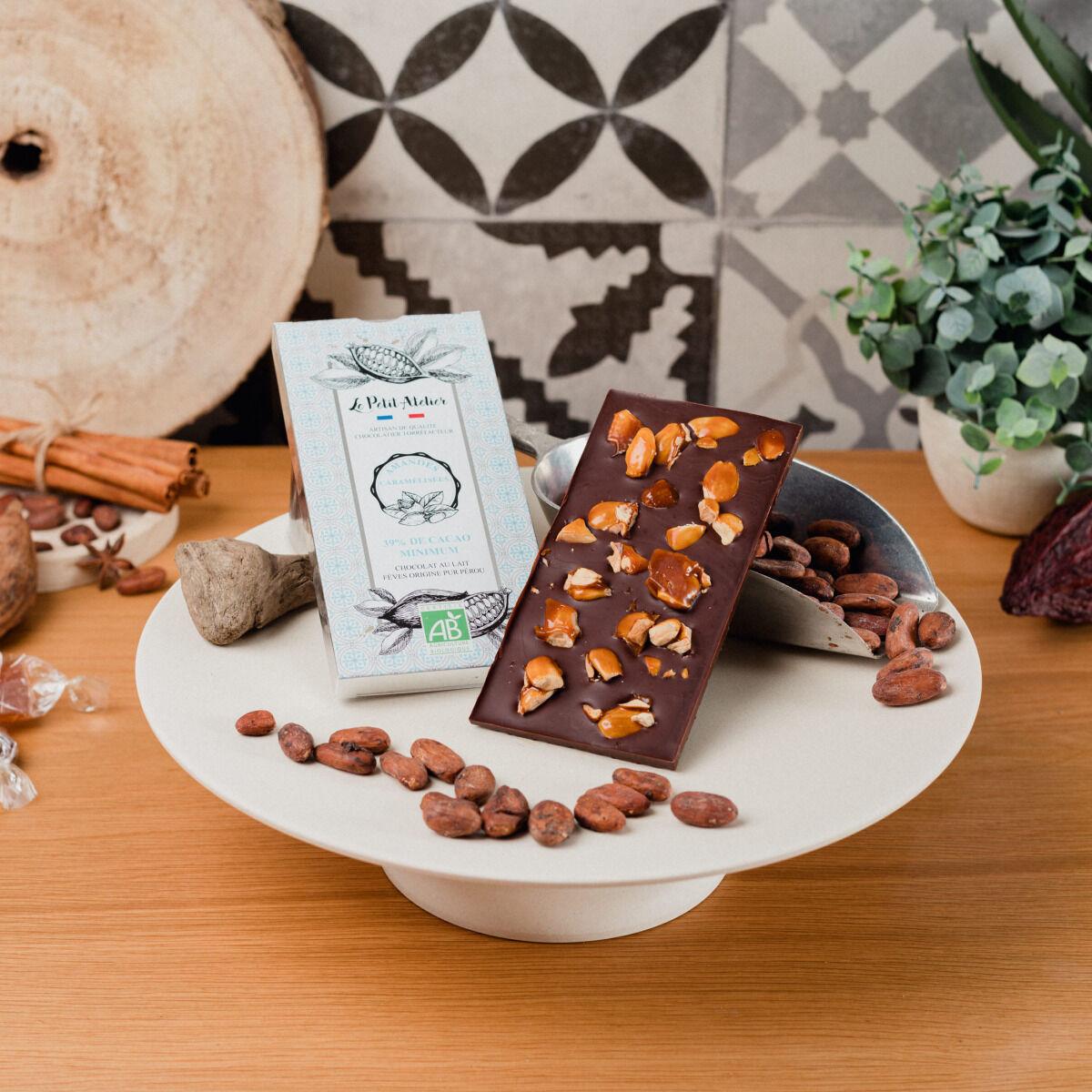 Le Petit Atelier Tablette Chocolat Noir Bio Aux Amandes Caramélisées