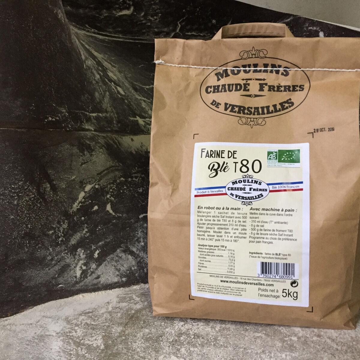 Moulins de Versailles Farine De Blé Bio T80 / Bise - 5kg