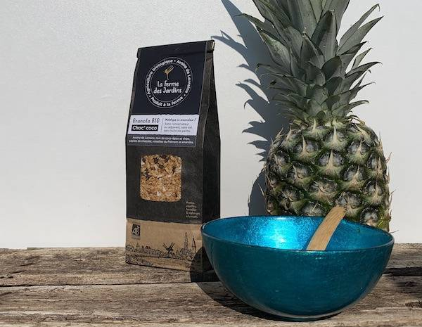 Ferme des Jardins Granola Bio Choc Coco : Chocolat, Noisette Du Piemont,noix De Coco