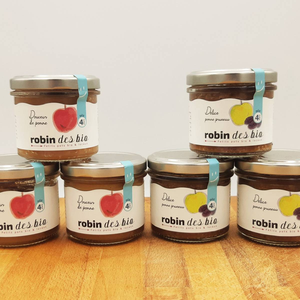 Robin des Bio Petit pot bébé Bio et Locaux - 3x Pomme Pruneaux - 3x Pomme (dès 4 mois)