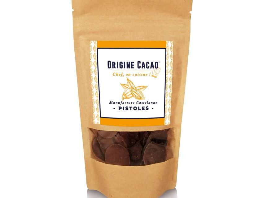 Maison Castelanne Chocolat Pistole Couverture 150gr Fèves cacao origine BIO