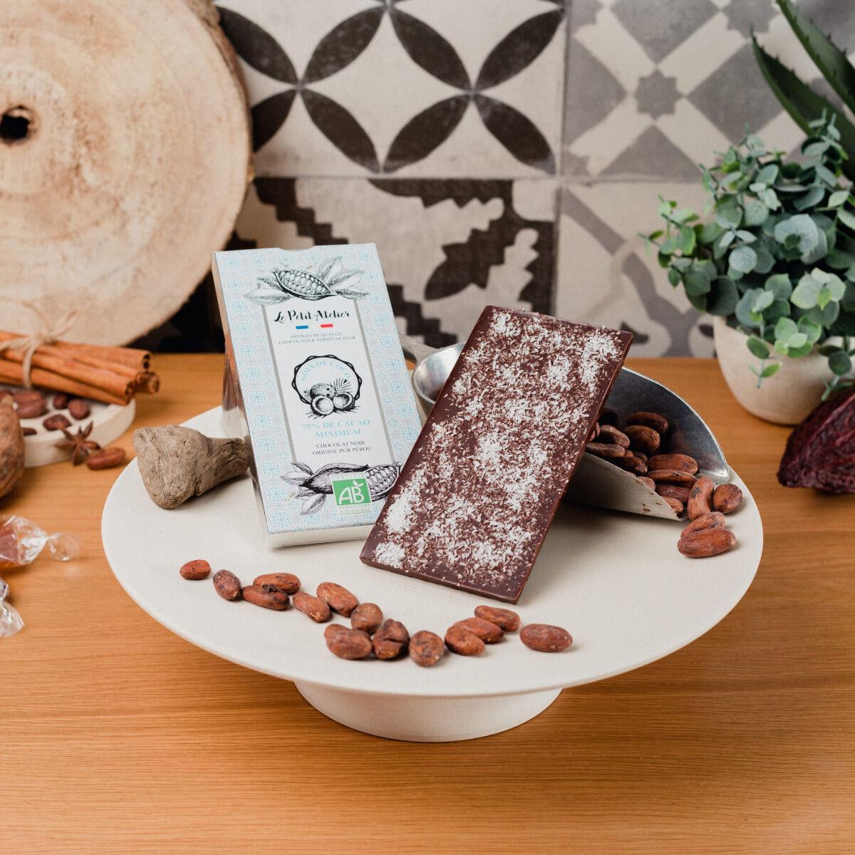 Le Petit Atelier Tablette Chocolat Noir Bio À La Noix De Coco