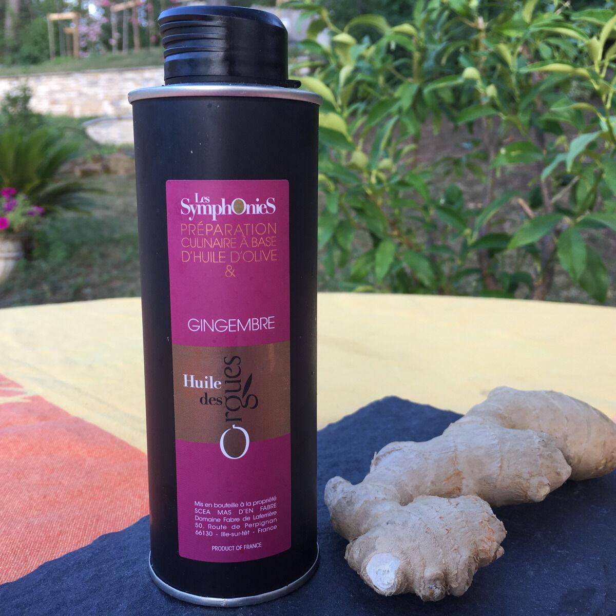 Huile des Orgues Huile d'Olive Vierge Extra aux Notes de Gingembre - 250 ml