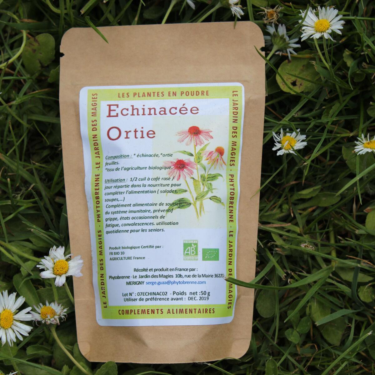 PhytoBrenne Le Jardin des Magies Plante en Poudre : Ortie, Echinacée (complément Alimentaire)