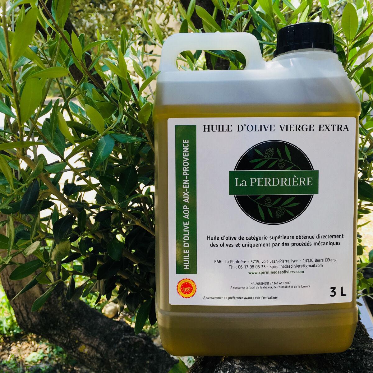 Spiruline des Oliviers Huile D'olive Vierge Extra Aop Aix-en-Provence 3L