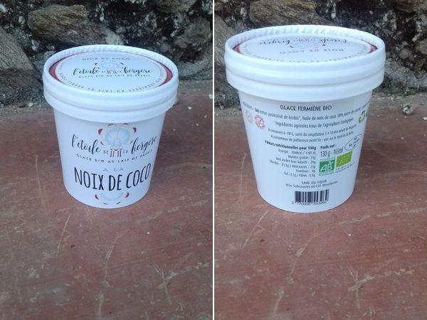 L'Etoile de la Bergère Glace Bio Au Lait De Brebis Corse Noix De Coco 165 Ml Avec Petite Cuillère