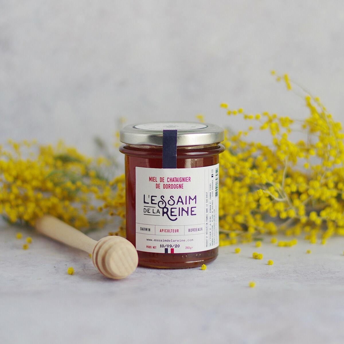 L'Essaim de la Reine Miel de chataignier de Dordogne - 250g - récolté en France par l'apiculteur