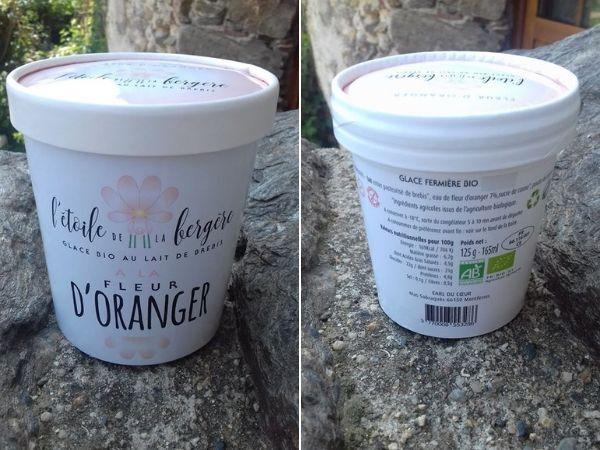 L'Etoile de la Bergère Glace Bio Au Lait De Brebis Corse Fleur D'oranger 165 Ml Avec Petite Cuillère