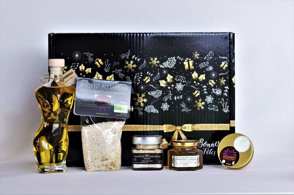 """Le safran - l'or rouge des Ardennes Coffret Noir """"joyeuses Fêtes"""" L'aphrodisiaque"""