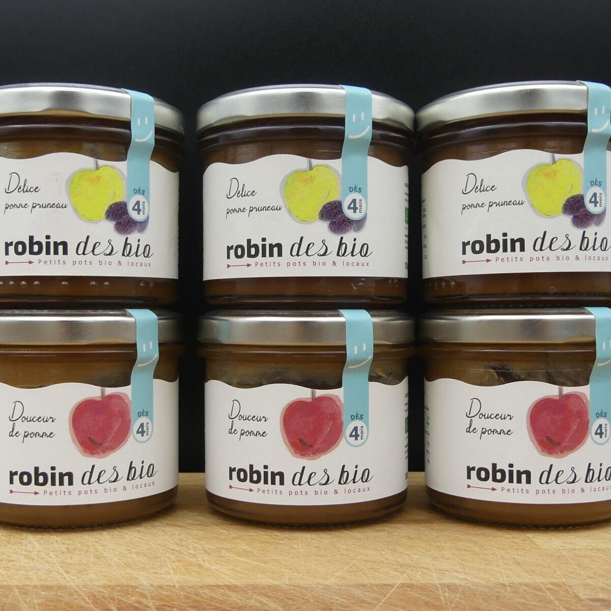 Robin des Bio Lot De Petit Pot Bébé Bio Et Locaux - 3x Pomme Pruneaux - 3x Pomme (dès 4 Mois)