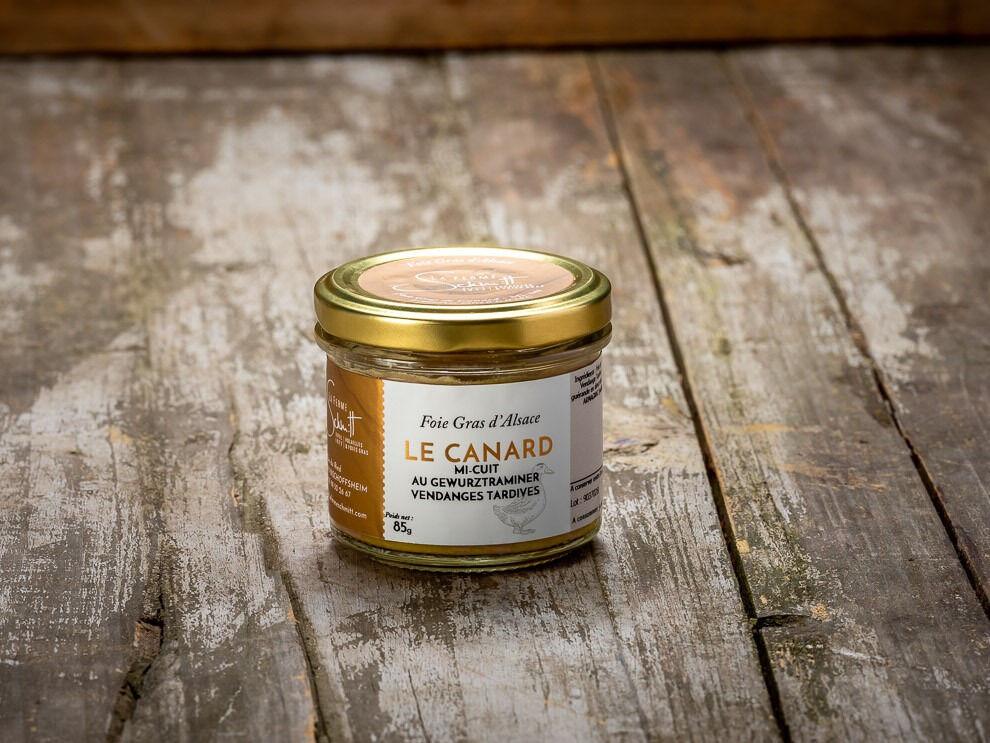 La Ferme Schmitt Foie Gras de Canard d'Alsace Mi-cuit au Gewurztraminer Vendanges Tardives, en verrine de 85 g