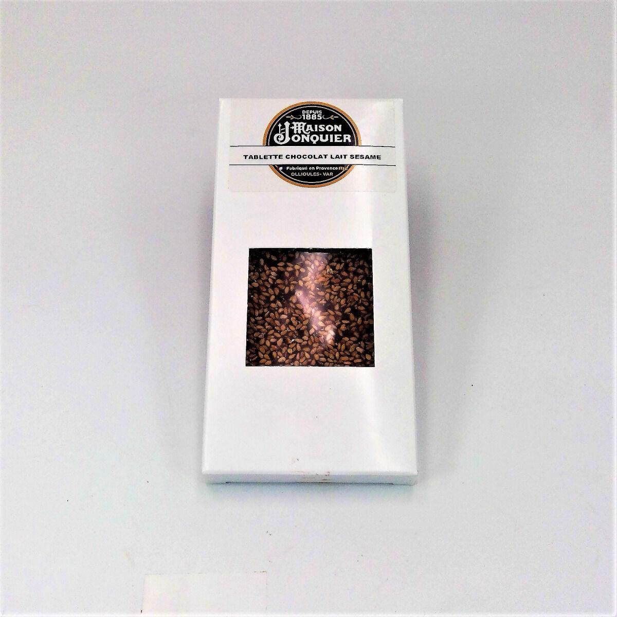 Maison Jonquier Chocolat au Lait et Sésame – 38% de Cacao – 100g