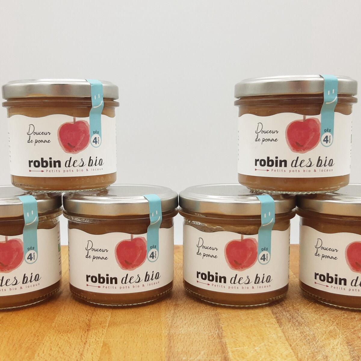 Robin des Bio Petit pot bébé Bio et Locaux - 6x Pomme (dès 4 mois)