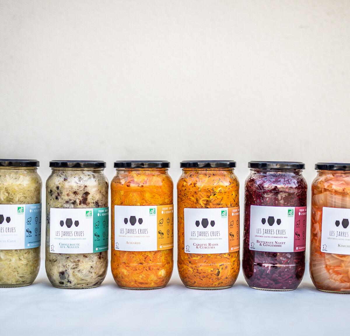 Les Jarres Crues Lot de 6 Bocaux de 1 Kg de Légumes Lacto-fermentés BIO