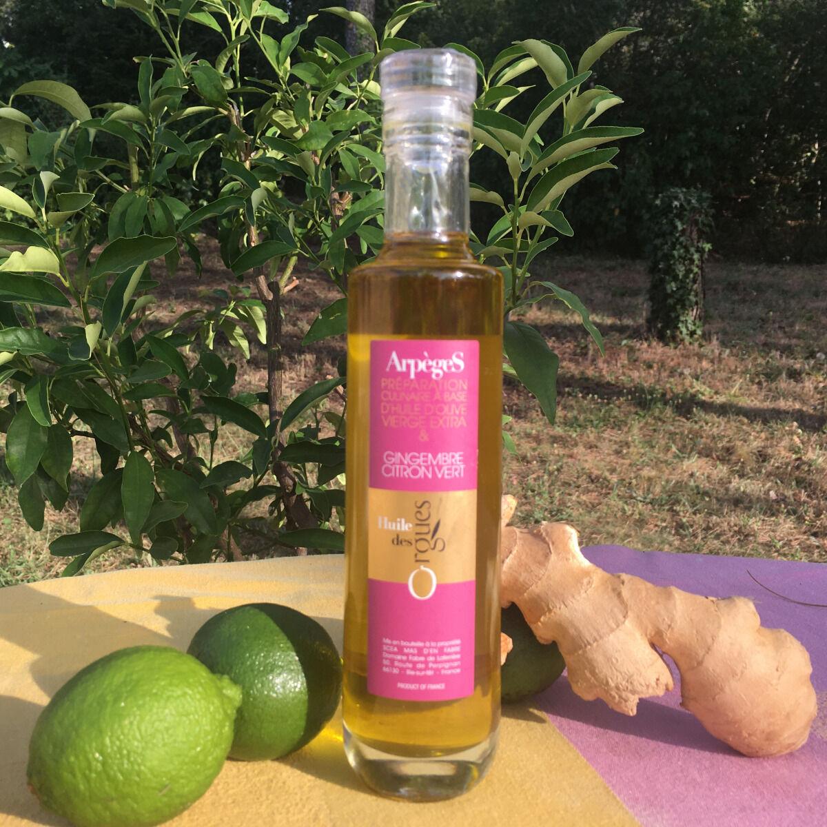 Huile des Orgues Huile d'Olive Parfumée au Gingembre Vert - 200 ml