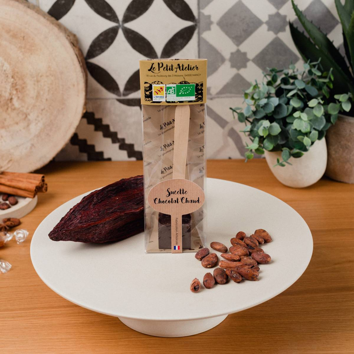Le Petit Atelier Sucette À Chocolat Chaud Noir Bio