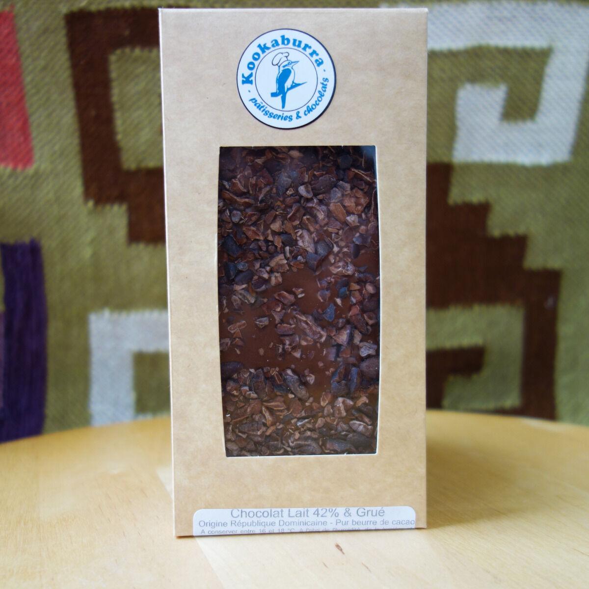 Pâtisserie Kookaburra Tablette Chocolat au Lait 42% Grué de cacao