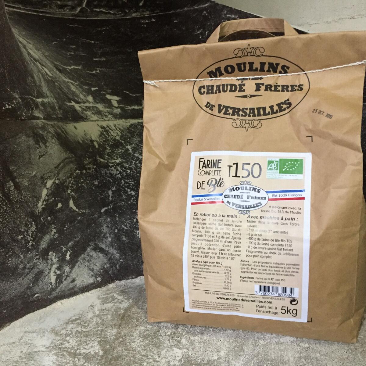 Moulins de Versailles Farine De Blé Bio T150 / Intégrale - 5kg