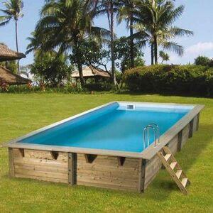Piscine en bois Azura 250 x 450 x 126 cm H - Liner bleu - Publicité