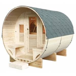 Sauna d'extérieur tonneau GAIA Luna - Publicité