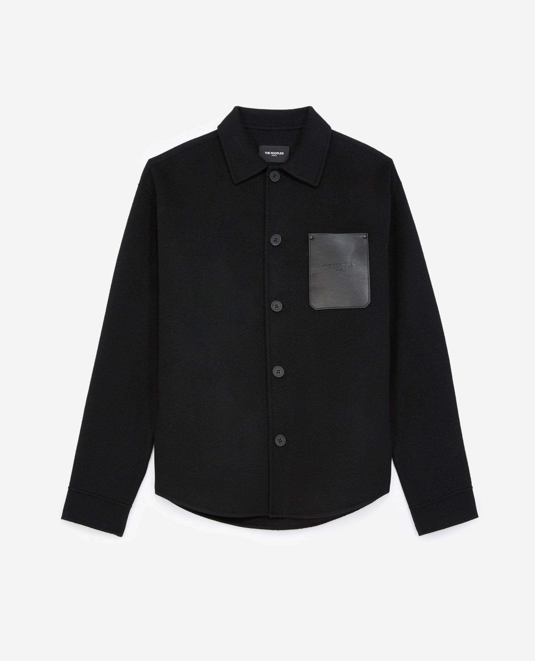 The Kooples - Chemise laine noire poche cuir - HOMME