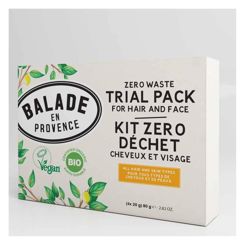 Balade en Provence Kit Zéro Déchet Bio Cheveux et Visage - 4 x 20 g - Balade en Provence