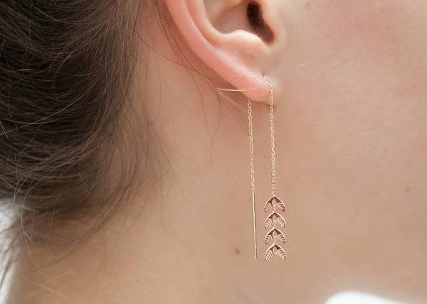 Elise et moi Boucles d'oreilles épi de blé chaîne traversante plaqué or