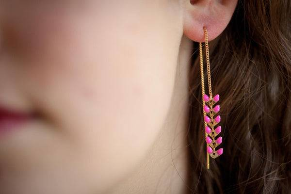 Elise et moi Boucles d'oreilles épi de blé chaîne traversante dorées