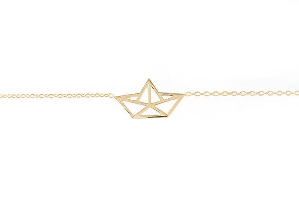 Elise et moi Bracelet bateau en papier origami plaqué or
