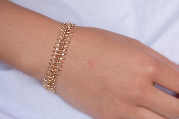 Elise et moi Large bracelet épi de blé plaqué or