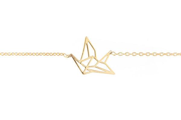 Elise et moi Bracelet grue origami plaqué or