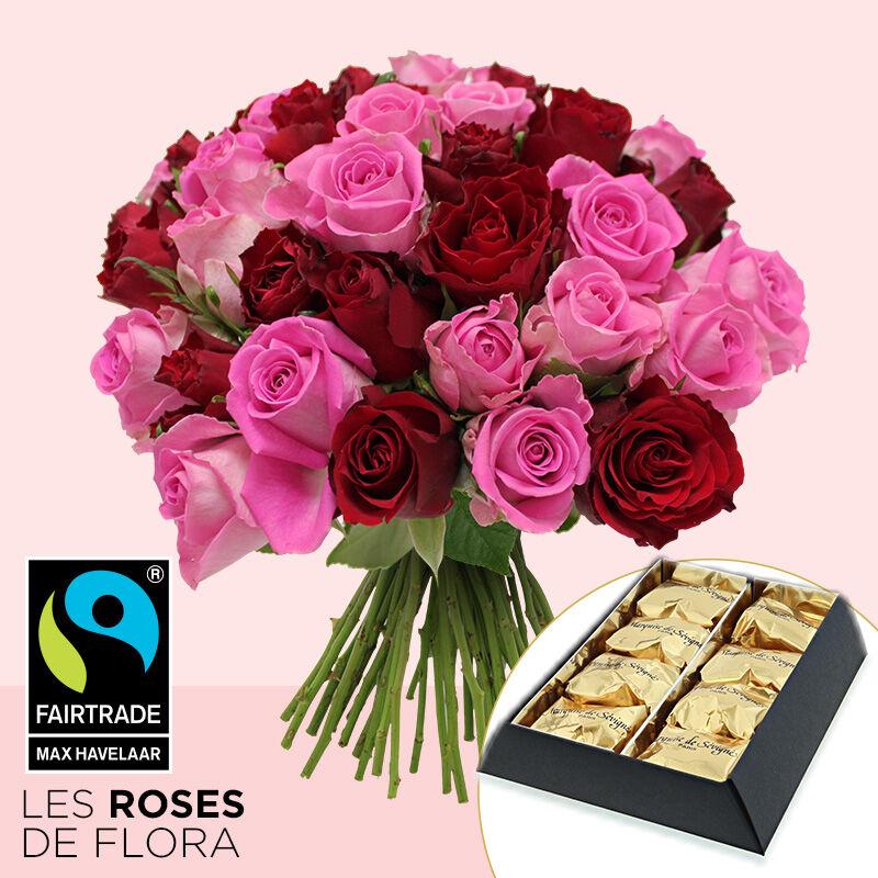Interflora Brassée de roses et marrons glacés x8