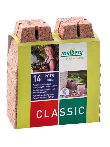 Romberg 14 pots biodégradables 8 cm carrés