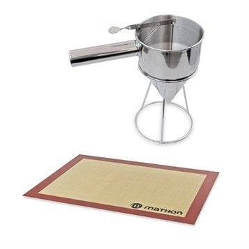 Mathon Lot Entonnoir à piston pro en inox et tapis de cuisson Mathon