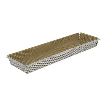 De Buyer Moule rectangulaire amovible inox perforé 35 cm et feuille de cuisson antiadhésive De Buyer