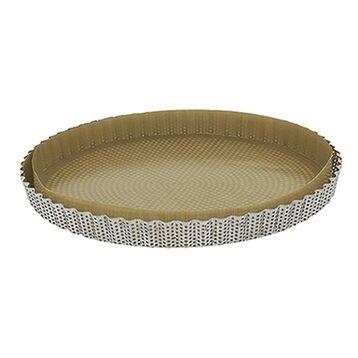 De Buyer Moule à tarte amovible 28 cm inox perforé et feuille de cuisson antiadhésive De Buyer