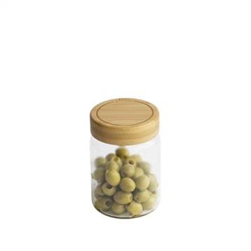 Pebbly Bocal en verre avec couvercle en bambou 450 ml Pebbly